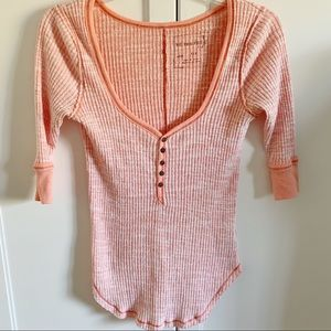 Free People | Coral Cotton Henley Top